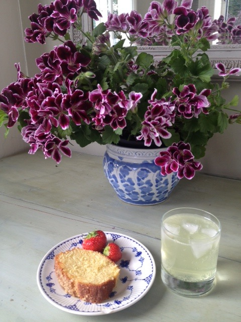 Homemade lemon drizzle cake and elderflower cordial...