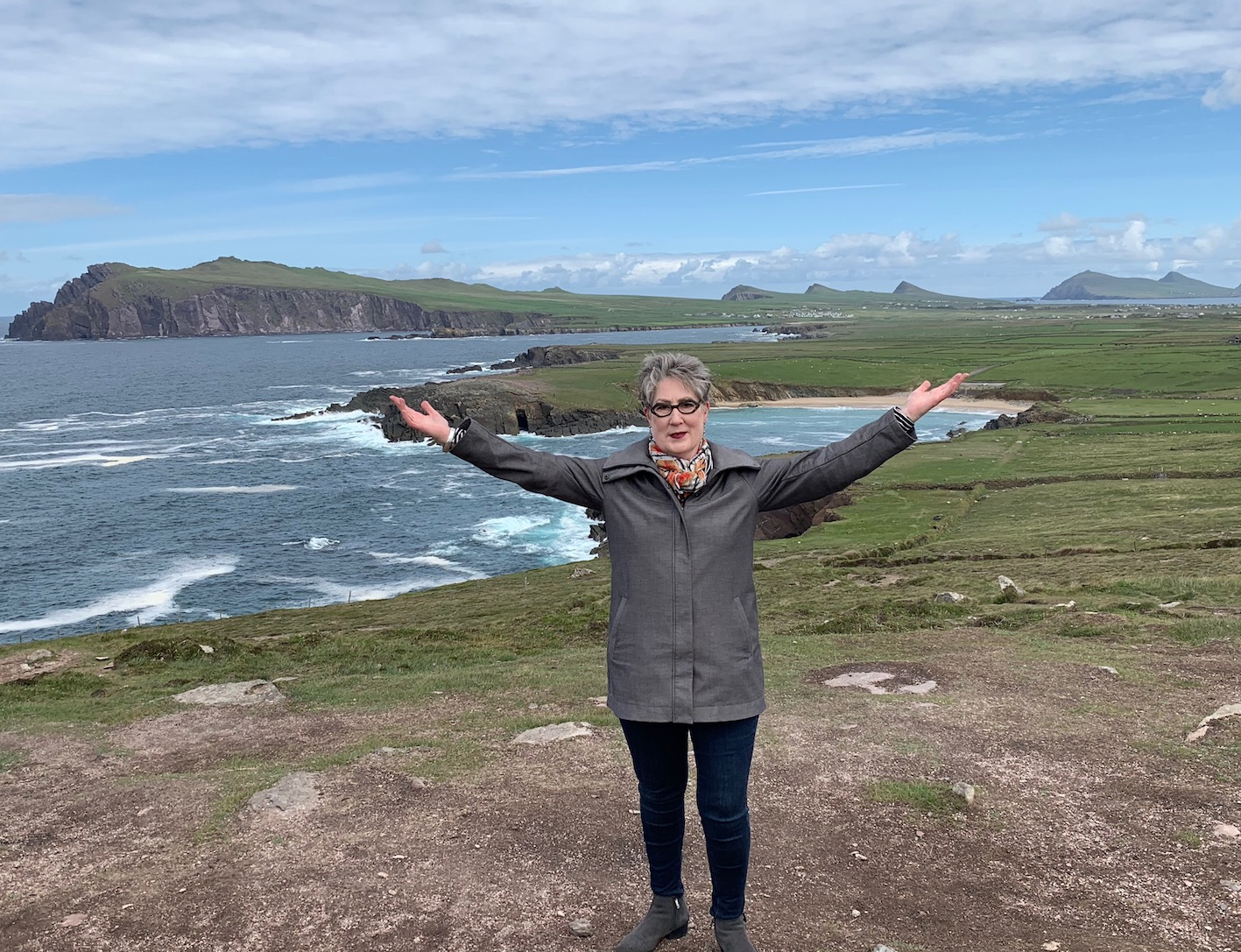 Marylou Colver celebrating her birthday on the Slea Head Drive in Dingle