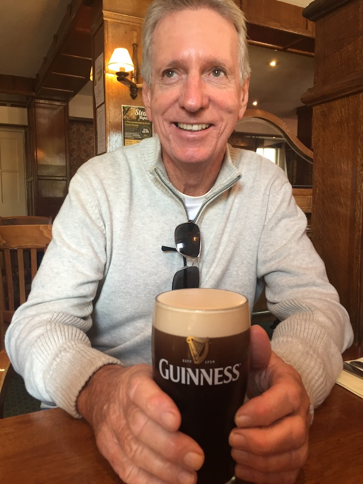 Paul Duffy with one of the many pints of Guinness he enjoyed in Ireland