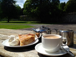 Tea and apple pie in the garden at Coole Park, County Galway
