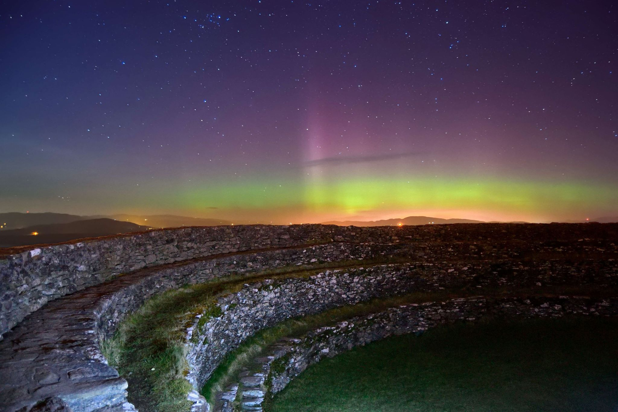 The Northern Lights from Grianan an Aileach, Burt, County Donegal