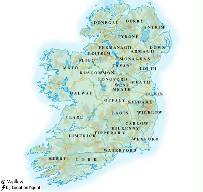Map Of Ireland Lakes.Ireland Facts