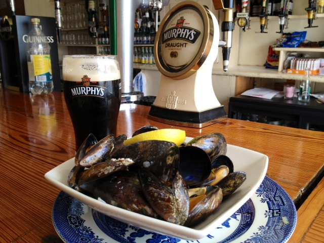 Pub grub at it's best, organic mussels and a pint of Murphy's in O Sullivan's Pub on the Beara Peninsula.