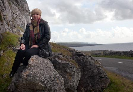 Susan Byron on the road to Doolin & the Cliffs of Moher