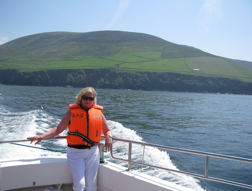 Susan Byron on the ferry to the Great Blaskets in County Kerry, Summer of 2014