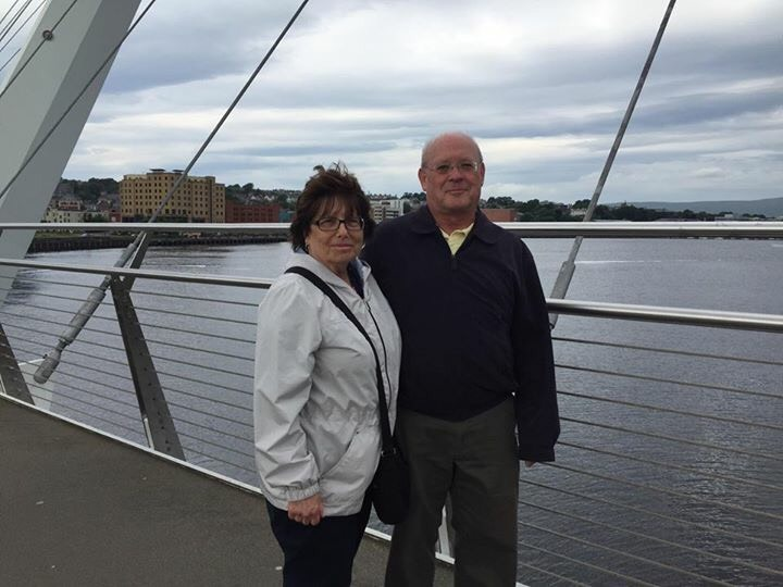 Tadgh and Anita Baker on the Peace Bridge in Londonderry.