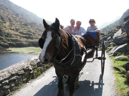 Taking a jaunting car ride through the Gap of Dunloe