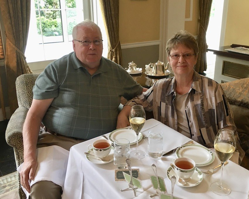 Sandra Balch and Ken Jacobsen having Afternoon Tea in the Merrion Hotel in Dublin