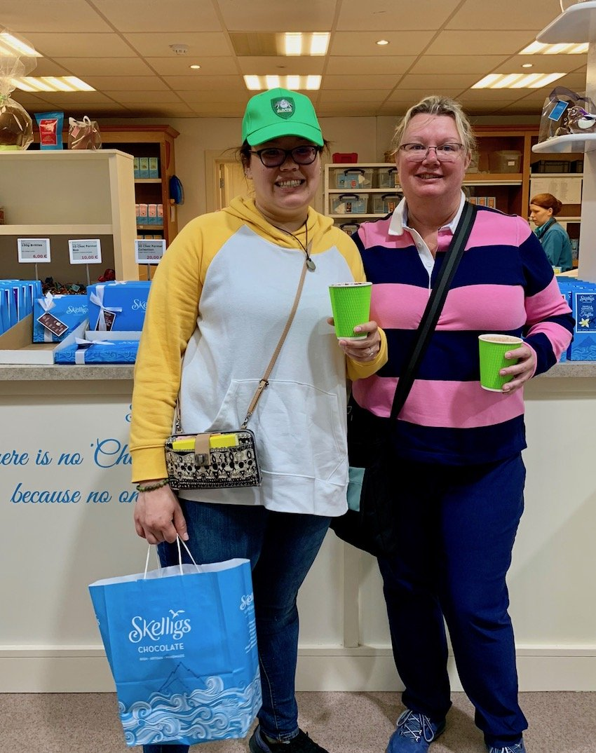 Lura Lewis and her daughter Vanessa Galeno at Skellig's Chocolates in Kerry