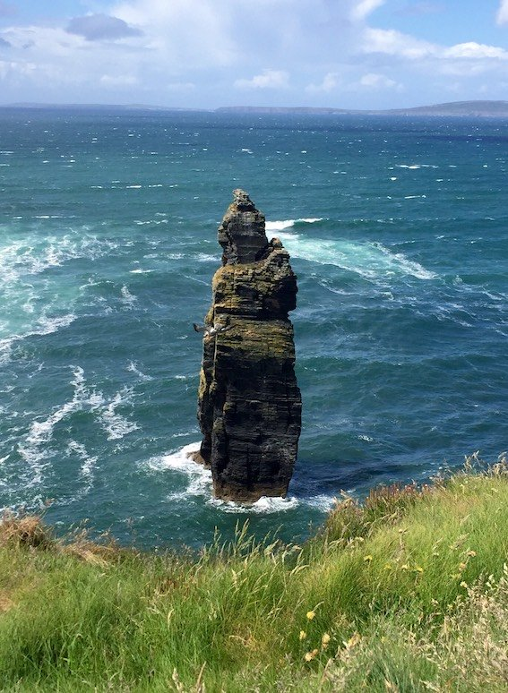 The Devil's Castle sea stack at Bromore Cliffs, County Kerry