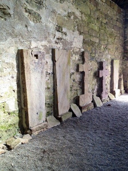 Grave slabs and high crosses on Holy Island, Lough Derg, County Clare