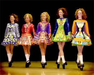 Irish Dancing girls in costume!