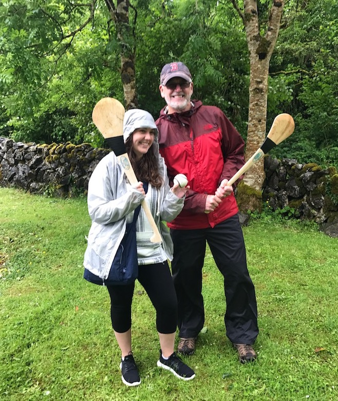 Jim Dougherty and his niece Meredith having a go at Hurling in County Clare.