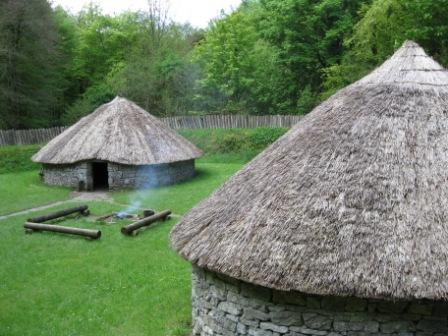 Reconstruction of a ring fort at Craggaunowen, County Clare.