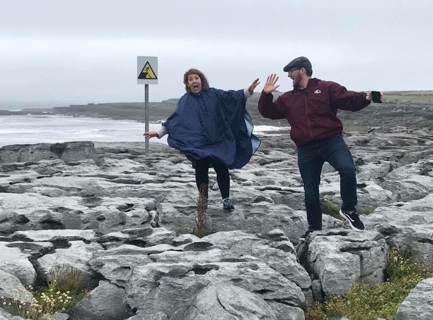 Sarah and Austin acting the maggot in Doolin, County Clare